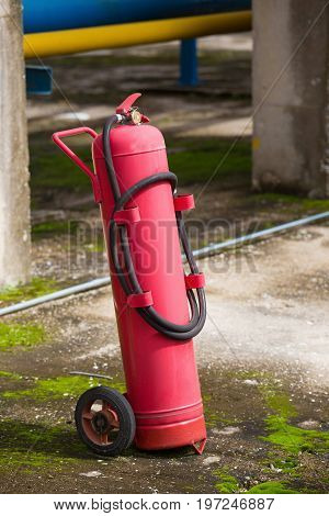 Fire Protection Equipment, Fire Extinguisher On Trolley,  Industry Concept