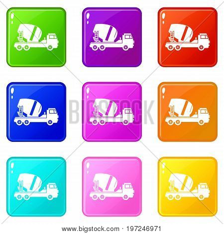 Concrete mixer truck icons of 9 color set isolated vector illustration