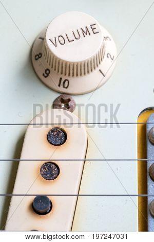 Closeup Of Vintage Electric Guitar Volume Knobs