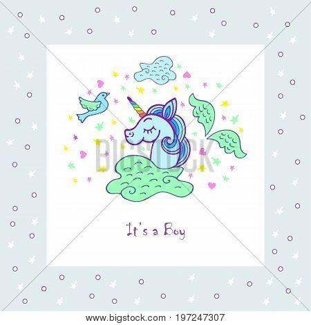 Cute template with unicorn, wings, bird, cloud. Text copy frame template. It can be used for cover, invitation, birthday, greetings, unicorn party, baby birth, good night and sweet dreams card. Vector