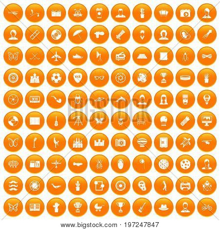 100 photo icons set in orange circle isolated on white vector illustration