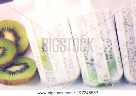 Kiwi Coconut Chia Popsicles