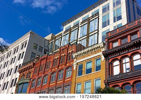 Historical and modernized buildings in Washington DC downtown. Different styles of urban architecture of USA capital city.