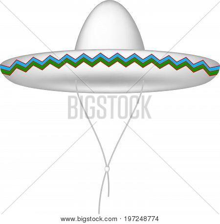 Sombrero hat in white design on white background