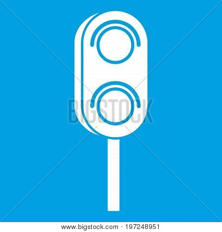Semaphore trafficlight icon white isolated on blue background vector illustration