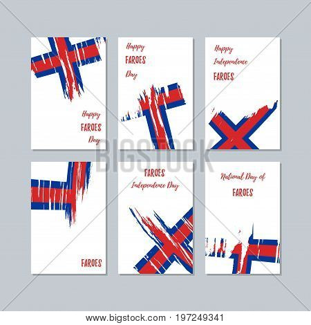 Faroes Patriotic Cards For National Day. Expressive Brush Stroke In National Flag Colors On White Ca