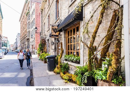 Montreal, Canada - May 28, 2017: Old Town Area Building With Barroco Restaurant By Street In Quebec