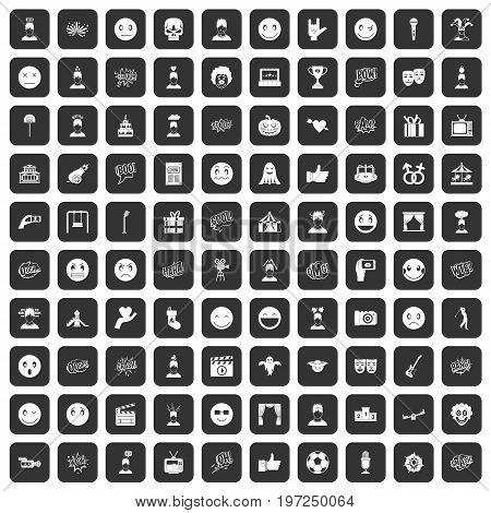 100 emotion icons set in black color isolated vector illustration