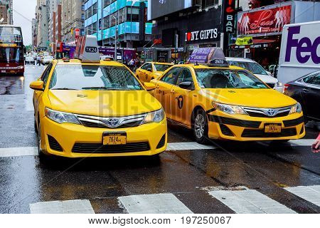 New York - July 2017: Crown Victoria Taxis, Which May Be Phased Out For Hybrids, On Broadway In Time