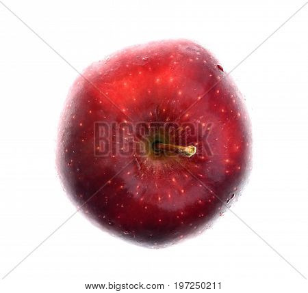 Isolate red apple top view, a close up photo image from top view of red apple isolated on white background present a detail of texture and pattern on red apple surface