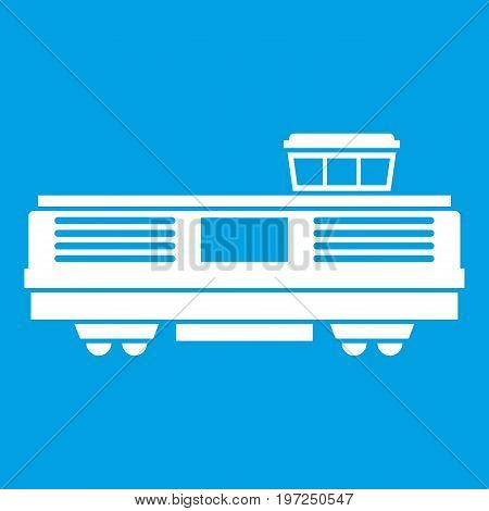 Freight train icon white isolated on blue background vector illustration