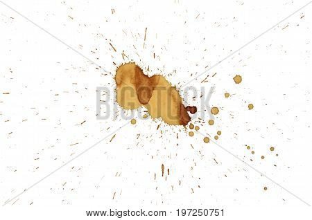 Isolate brown grunge coffee stain, a close up photo image of brown grunge coffee stain isolated on white background present a detail of grunge coffee stain pattern and texture