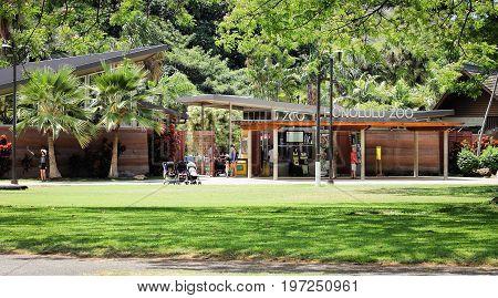 Honolulu Hawaii - May 26 2016: People outside of the Honolulu Zoo in Waikiki - a popular local and tourist attraction alike.