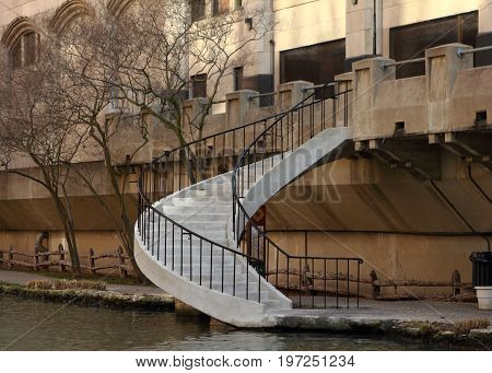 White stone stairway on Riverwalk, San Antonio, Texas