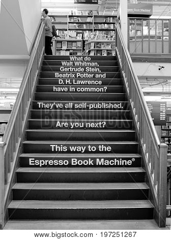 Portland, Oregon - March 29, 2013. Staircase in Powell's City of Books, famous Оregon bookstore