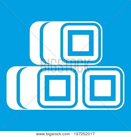 Hay bundles icon white isolated on blue background vector illustration