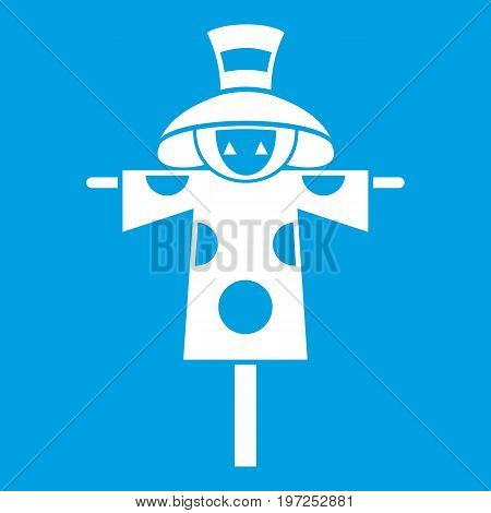 Scarecrow icon white isolated on blue background vector illustration