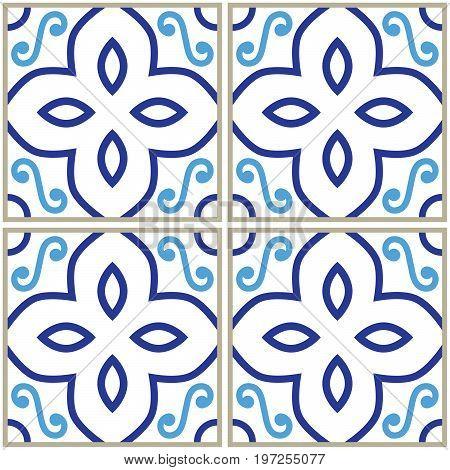 Tiles pattern, Spanish or Portuguese tile blue background, Geometric designs