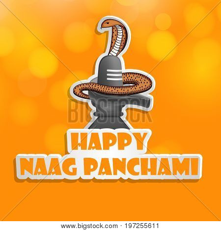 illustration of shivling and snake with Happy Naag Panchami text on the occasion of Hindu Festival Naag Panchami