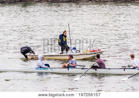 Washington DC USA - March 20 2017: People rowing on Potomac river on many boats