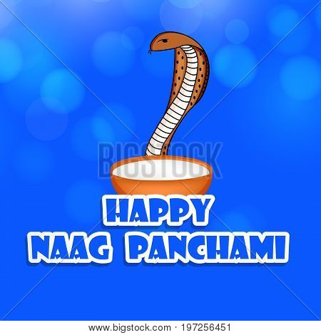 illustration of snake with Happy Naag Panchami text on the occasion of Hindu Festival Naag Panchami