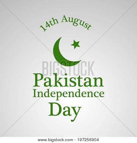 illustration of moon and star with 14th August Pakistan Independence Day text on the occasion of  Pakistan Independence day