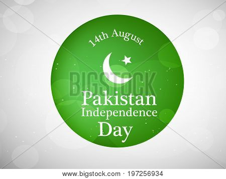 illustration of button with 14th August Pakistan Independence Day text on the occasion of  Pakistan Independence day background