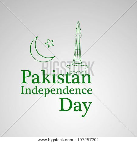 illustration of moon and star with Pakistan Independence day text on the occasion of Pakistan Independence day