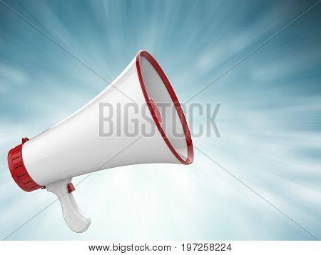 3d rendering megaphone calling with ray on blue background