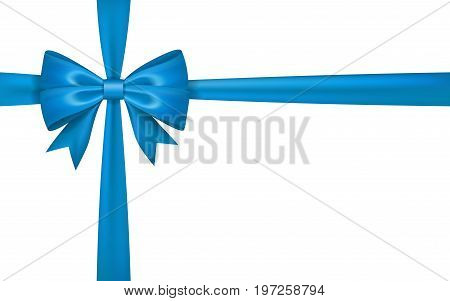 Gift bow ribbon silk. Blue bow tie isolated white background. 3D gift bow tie for Christmas present holiday decoration birthday celebration. Decorative satin ribbon element Vector illustration