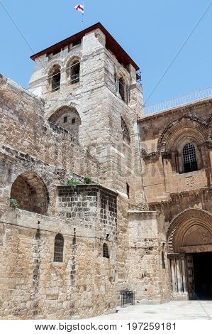Corner tower at the entrance to the Church of the Holy Sepulchre in the old city of Jerusalem Israel.