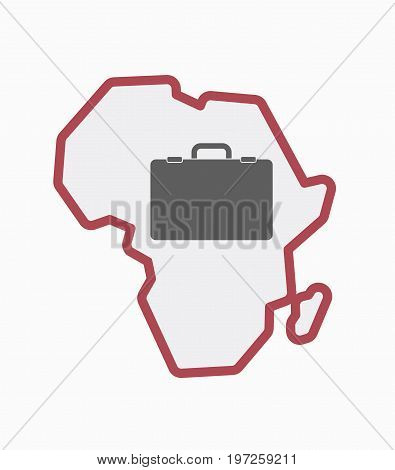 Isolated Africa Map With  A Briefcase