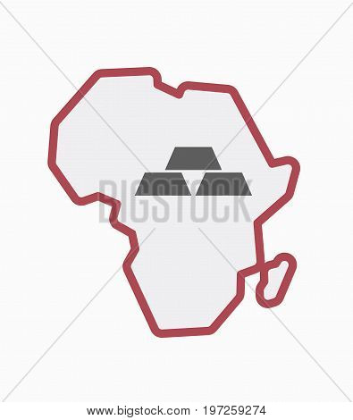 Isolated Africa Map With Three Gold Bullions