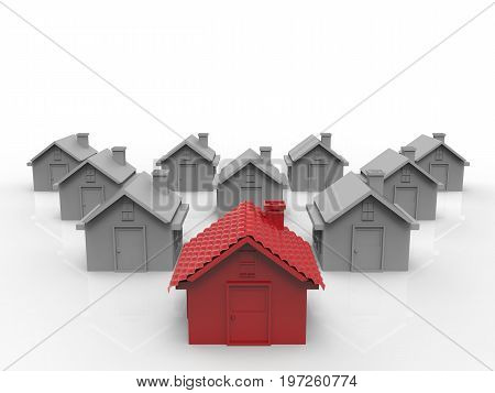 leadership concept with 3d rendering red house in front of white house village
