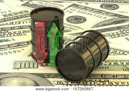 3d illustration: barrels of oil lie on banknotes of us dollar. Money. Transparent glass arrows green, red. Quotes go up and down. Petroleum business, gasoline. Purchase sale, auction, stock exchange.