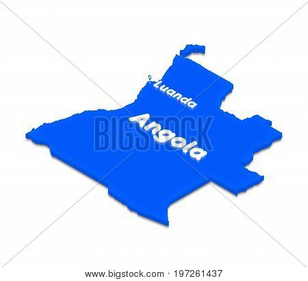 Map Of Angola. 3D Isometric Perspective Illustration.