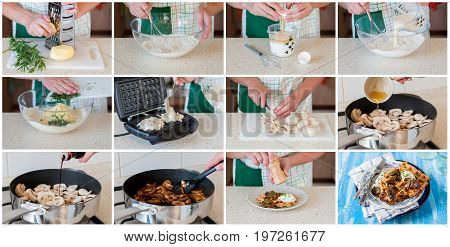 A Step By Step Collage Of Making Waffles With Mushrooms