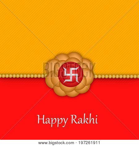 illustration of rakhi and swastik with happy rakhi text on the occasion of hindu festival Raksha Bandhan