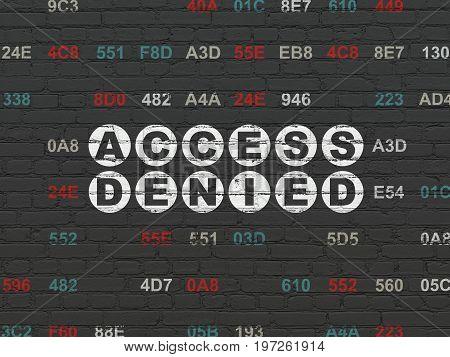 Privacy concept: Painted white text Access Denied on Black Brick wall background with Hexadecimal Code