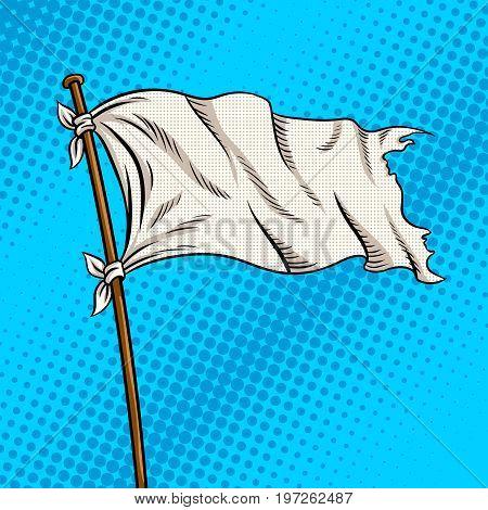 White flag pop art retro vector illustration. Comic book style imitation. Surrender symbol
