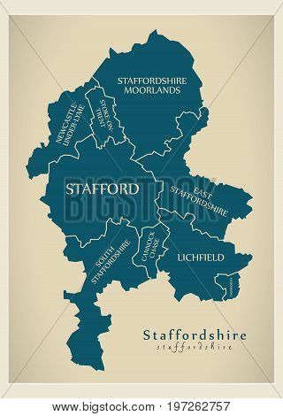 Modern Map - Staffordshire County With District Captions England Uk Illustration