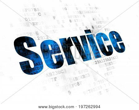 Business concept: Pixelated blue text Service on Digital background