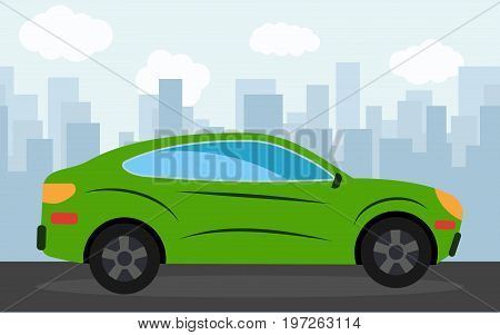 Green sports car in the background of skyscrapers in the afternoon. Vector illustration.