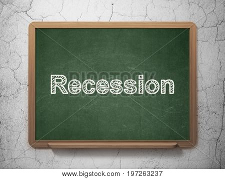 Business concept: text Recession on Green chalkboard on grunge wall background, 3D rendering