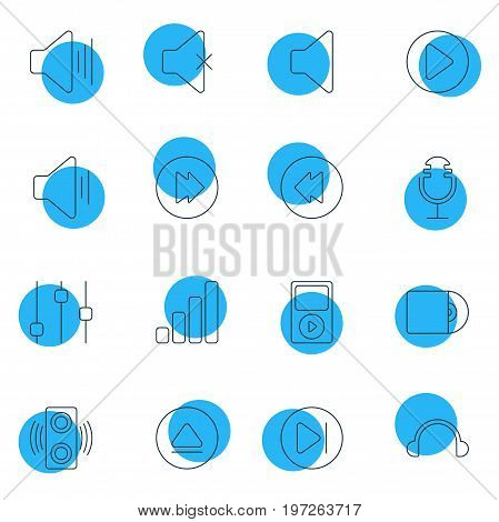 Editable Pack Of Earphone, Advanced, Reversing And Other Elements.  Vector Illustration Of 16 Music Icons.