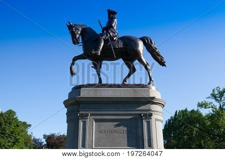 Boston Massachusetts USA - July 2 2016: George Washington Statue at Boston Public Garden Boston Massachusetts USA.The Public Garden founded 1837.