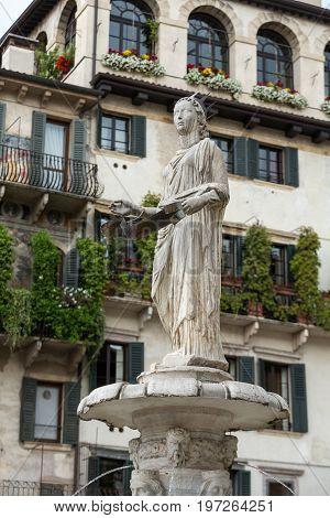 the Fountain of Madonna Verona in Piazza delle Erbe. Verona Italy
