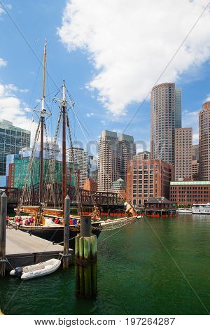 Boston Massachusetts USA - July 15 2016 : The Roseway schooner in Boston harbor. It is a wooden gaff-rigged schooner launched on 24 November 1925 in Essex Massachusetts. Now restored it is listed as a National Historic Landmark.