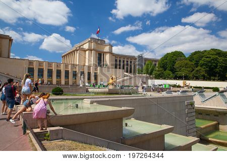 ParisFrance - June 17 2017: Sculpture of the bull and the deer by Paul Jouve front of the Palais de Chaillot. The work was made for the Universal Exhibition of 1937 in the gardens of the Trocadero.