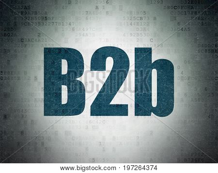 Business concept: Painted blue word B2b on Digital Data Paper background
